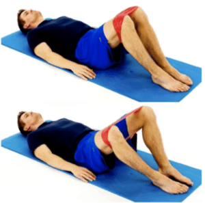 SUPINE HIP ABDUCTION - ELASTIC BAND CLAMS